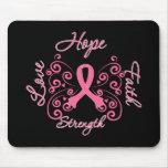 Cancro da mama da força do amor da fé da esperança mousepads