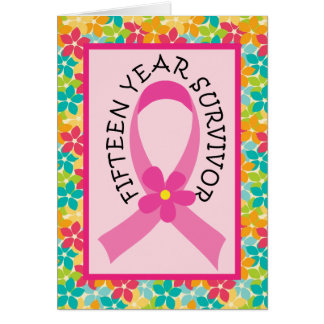 Cancro da mama fita do rosa do sobrevivente de 15 cartão comemorativo