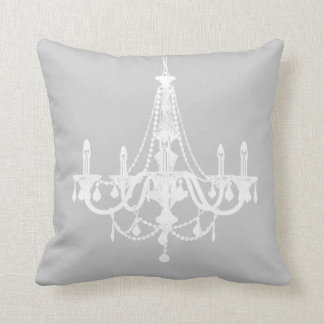 Candelabro branco e cinzento chique travesseiro de decoração