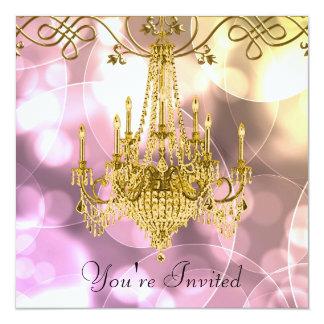 Candelabro cor-de-rosa do ouro todo o partido da convite personalizados