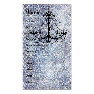 Candelabro no papel de parede azul do vintage do cartão de visita
