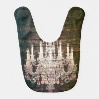 candelabro roxo de madeira do celeiro rústico de babador