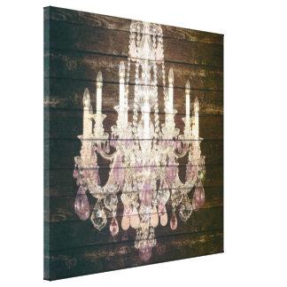 candelabro roxo de madeira do celeiro rústico de impressão em tela