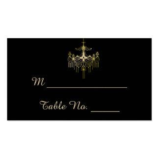 Candelabros do ouro em cartões finos pretos do cartão de visita