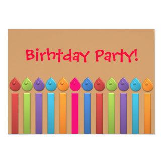 Candels coloridos do feliz aniversario do partido convite 12.7 x 17.78cm