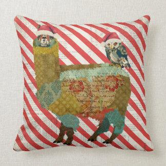 Candy Cane Llama & Owl Mojo Pillow
