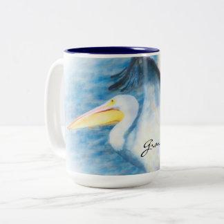 caneca 17 do pelicano da aguarela