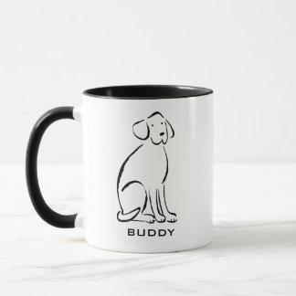 Caneca A arte de Labrador adiciona o nome