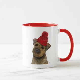 Caneca A beira Terrier com vermelho Bobble o chapéu 3