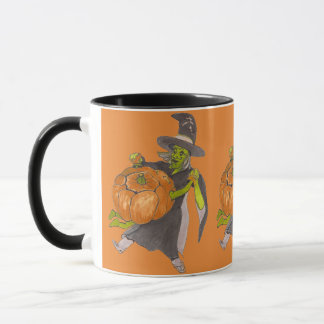 Caneca A bruxa e a abóbora do Dia das Bruxas dançam
