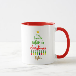 Caneca A cor favorita frente e verso é luzes de Natal