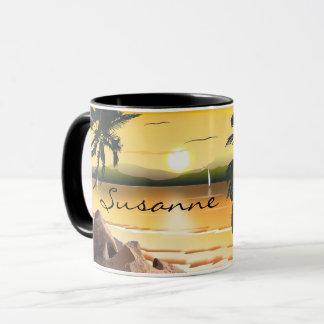 Caneca A palmeira tropical da praia do por do sol