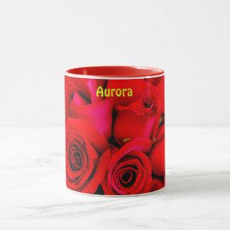 Caneca A rosa vermelha personalizada ~ da AURORA brota o