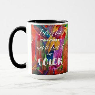 Caneca A vida é moderna abstrato colorido demasiado curto