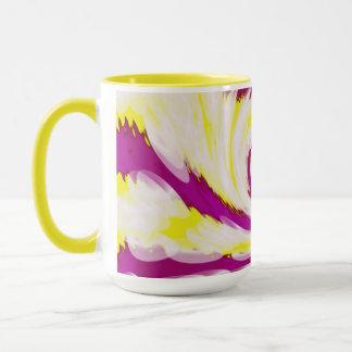 Caneca Abstrato branco amarelo cor-de-rosa Groovy do