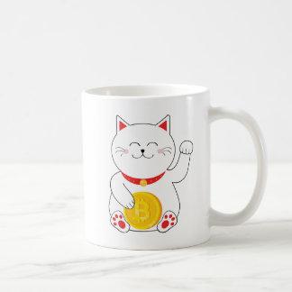 Caneca afortunada de Bitcoin do gato de Maneki