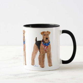 Caneca Airedale patriótico Terrier