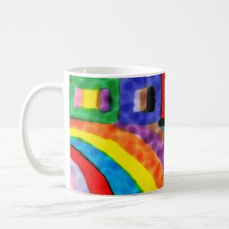 Caneca alegre do arco-íris
