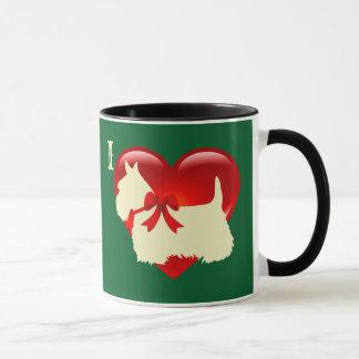 Caneca Amor/Scottish vermelho Terrier do coração, verde