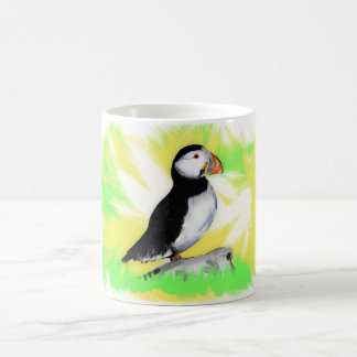 Caneca animal do papagaio-do-mar vibrante que