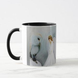Caneca Anjo-da-guarda do cuidado e coruja branca