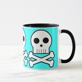 Caneca Aqua triplo do copo de café dos crânios do pirata