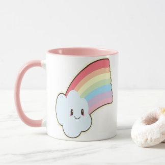 Caneca Arco-íris e nuvem de sorriso bonitos e amando