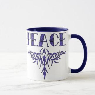 Caneca Arte azul da paz do tatuagem