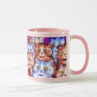 Caneca Arte dos gatos da maravilha de Wain do vintage
