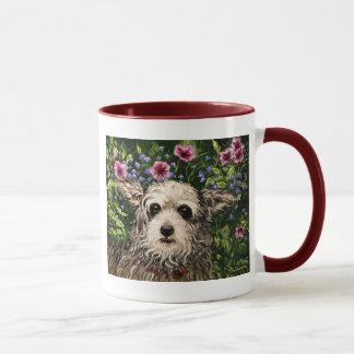 Caneca arte popular do cão 4796b & dos petúnias