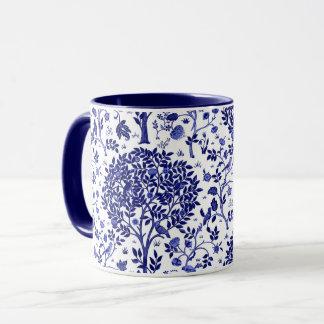 Caneca Árvore de William Morris de vida, de azuis