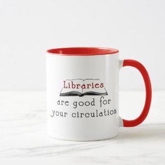 Caneca As bibliotecas são boas para sua circulação -