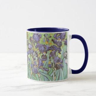 Caneca As íris por Vincent van Gogh, vintage florescem a