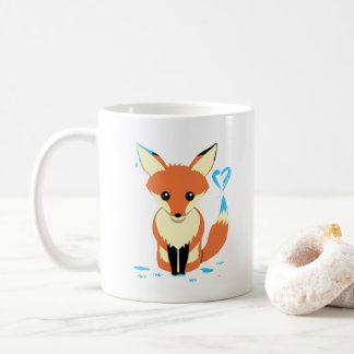 Caneca azul bonito da pintura do coração do Fox