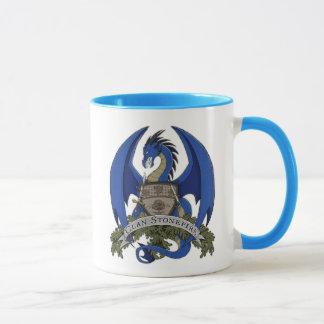 Caneca azul da crista do dragão de Stonefire