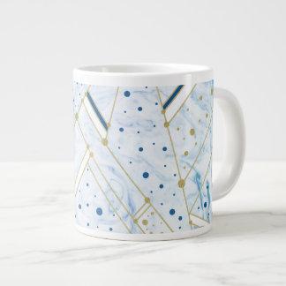 Caneca azul da geometria dos pontos marmorear & de