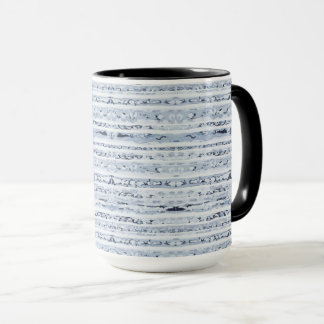 Caneca Azul de índigo moderno do design das listras do