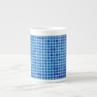 caneca azul do azulejo do banheiro bone china mug