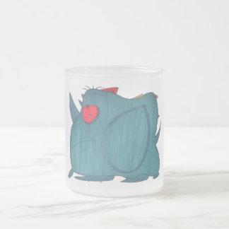 Caneca azul do fosco do rinoceronte de JMCdesign