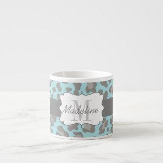 Xícara De Espresso Caneca azul e cinzenta do impressão do leopardo do