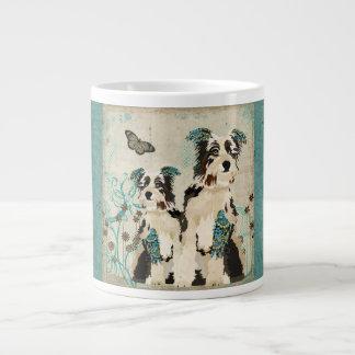 Caneca azul floral dos cães do vintage jumbo mug