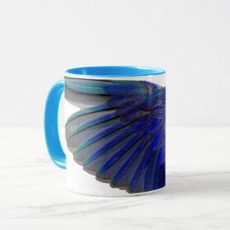 Caneca azul pacífica do copo da campainha da asa