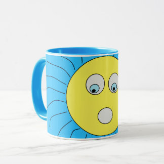 Caneca Azul Scared bonito do design de Sun da expressão