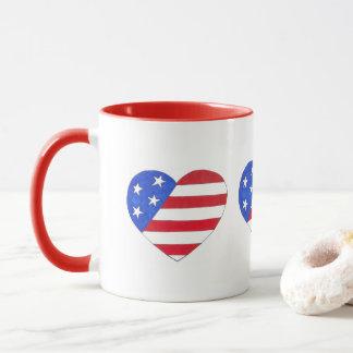 Caneca Bandeira americana azul branca vermelha do coração
