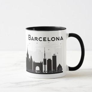 Caneca Barcelona, espanha skyline preta & branca de   da
