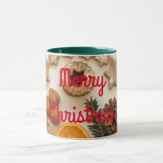 Caneca Biscoitos do feriado vermelhos e Feliz Natal verde