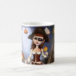 Caneca bonito da menina do pirata do Dia das