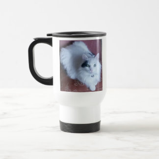 Caneca bonito do viagem do gato macio branco