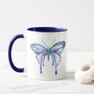 Caneca borboleta roxa azul do aqua da aguarela