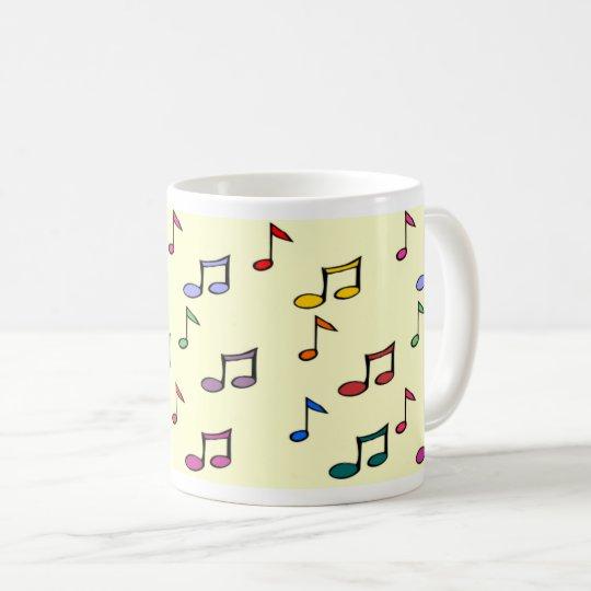 Caneca Branca 325 ml clássica - Notas Musicais